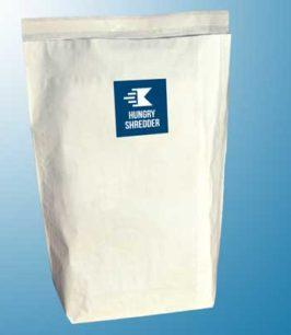 Image of Hungry Shredder's jumbo paper shredding service sacks on blue background