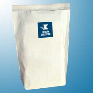 Image of Hungry Shredder's jumbo paper shredding service sacks on blue background