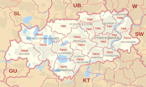 Map of TW postcode areas where Hungry Shredder operates Collection Service