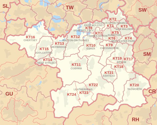 Map of KT postcode areas where Hungry Shredder operates Collection Service